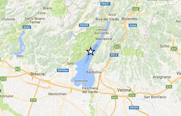 Terremoto di magnitudo 3.6 vicino Verona, nel lago di Garda